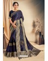 Navy Blue Fancy Silk Weaving Worked Designer Saree