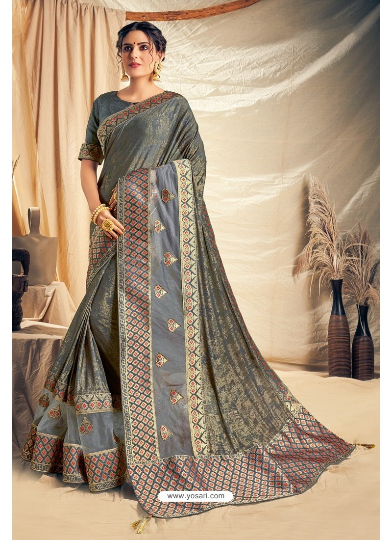 Dull Grey Fancy Silk Weaving Worked Designer Saree
