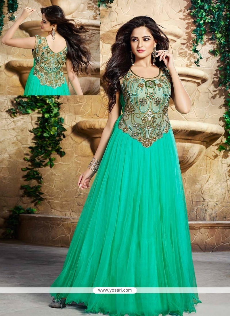 Sea Green Net And Satin Designer Gown
