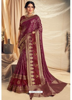 Deep Wine Fancy Silk Weaving Worked Designer Saree