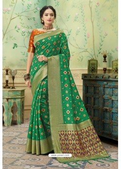 Forest Green Silk Jacquard Work Party Wear Saree