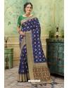 Dark Blue Silk Jacquard Work Party Wear Saree