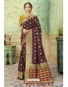 Wine Silk Jacquard Work Party Wear Saree