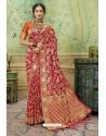 Red Silk Jacquard Work Party Wear Saree