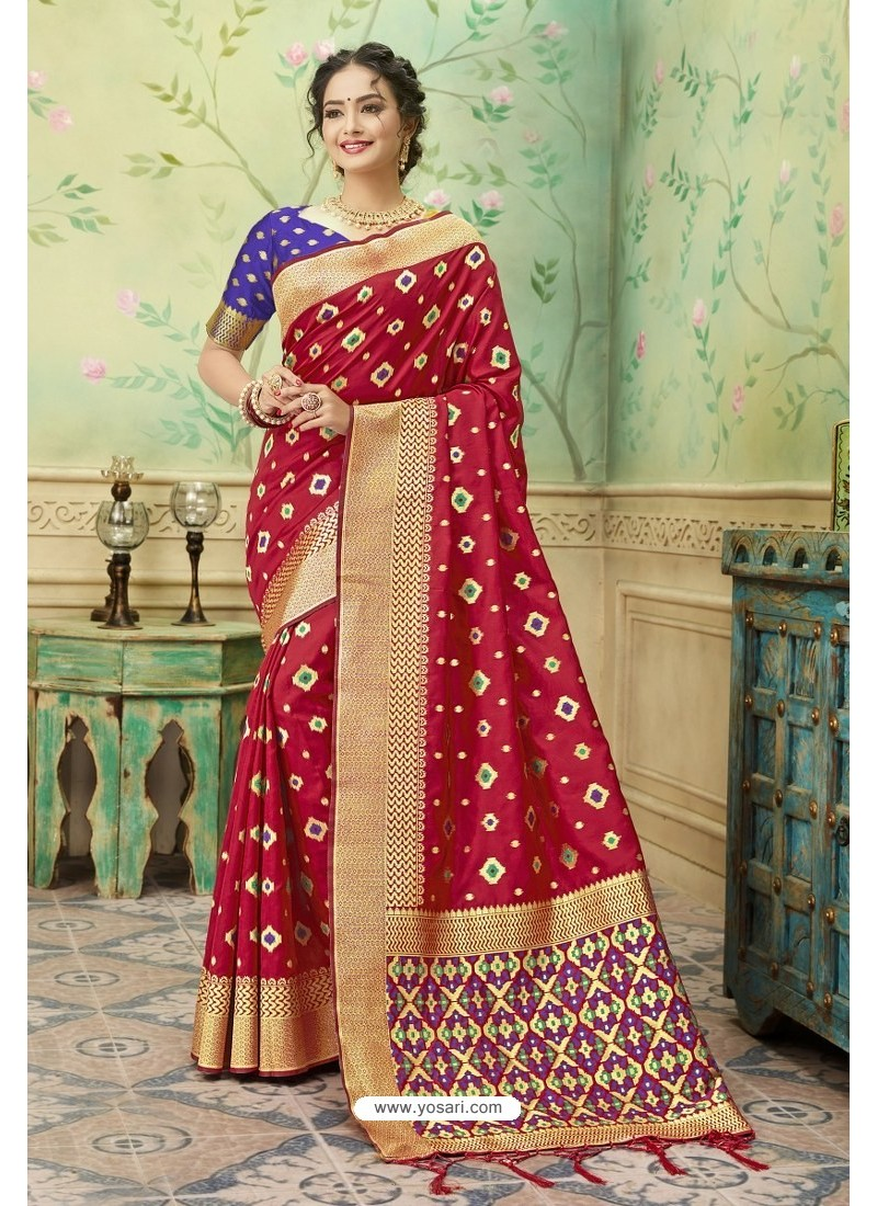 Stunning Red Silk Jacquard Work Party Wear Saree