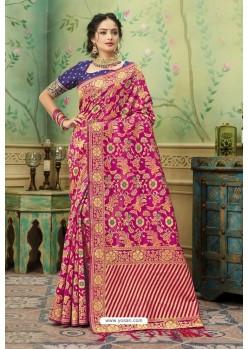 Rani Silk Jacquard Work Party Wear Saree
