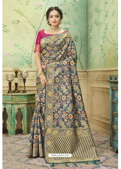 Grey Silk Jacquard Work Party Wear Saree