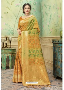 Yellow Silk Jacquard Work Party Wear Saree