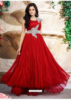Amazing Red Net And Satin Wedding Gown