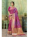 Medium Violet Silk Jacquard Work Party Wear Saree