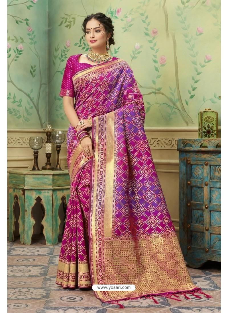 Medium Violet Silk Jacquard Work Party Wear Saree