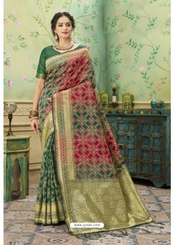 Dark Green Silk Jacquard Work Party Wear Saree