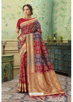 Amazing Red Silk Jacquard Work Party Wear Saree