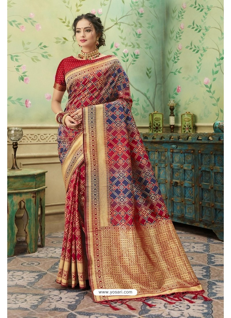 Amazing Red Silk Jacquard Work Party Wear Saree