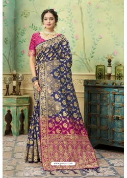 Navy Blue Silk Jacquard Work Party Wear Saree