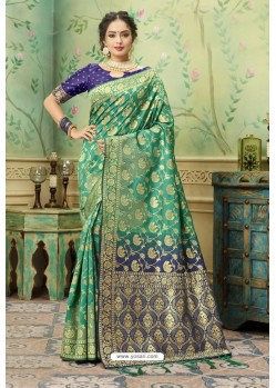 Jade Green Silk Jacquard Work Party Wear Saree
