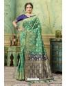 Jade Green Silk Jacquard Work Party Wear Saree