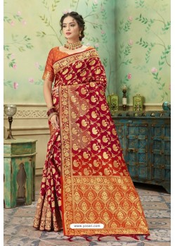 Glamorous Red Silk Jacquard Work Party Wear Saree