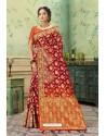 Glamorous Red Silk Jacquard Work Party Wear Saree