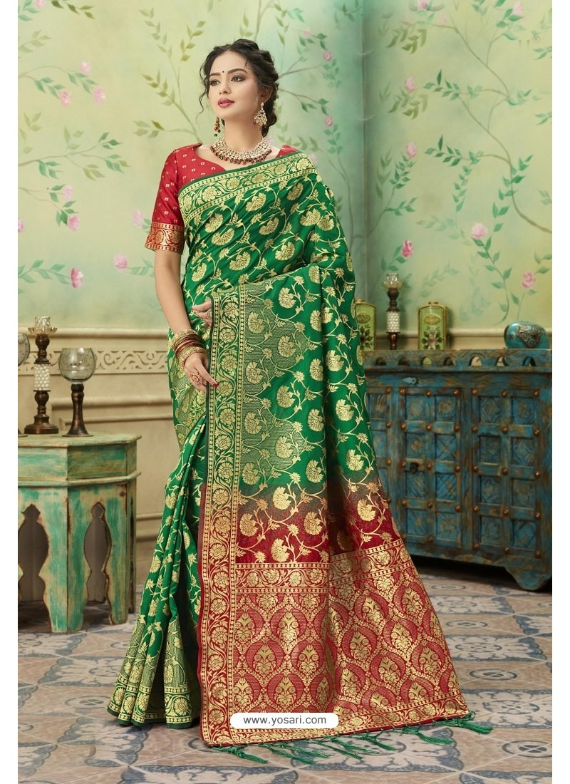Latest Forest Green Silk Jacquard Work Party Wear Saree
