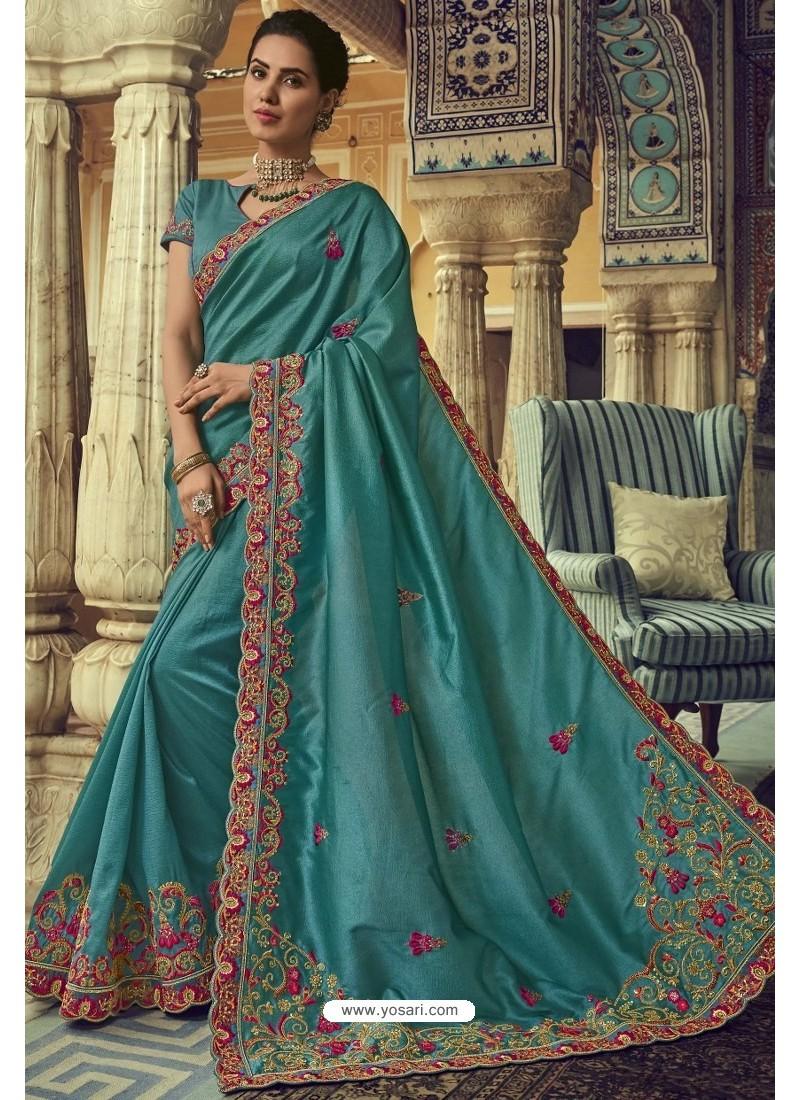Teal Blue Georgette Silk Designer Saree