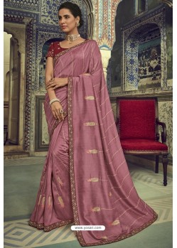 Old Rose Silk Designer Saree