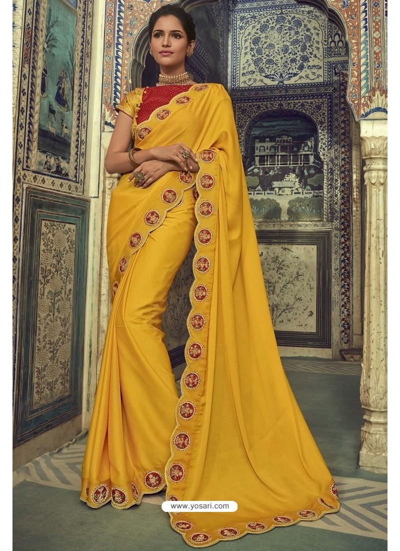Yellow Georgette Silk Designer Saree