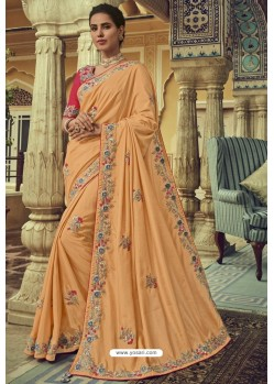 Light Orange Georgette Silk Designer Saree