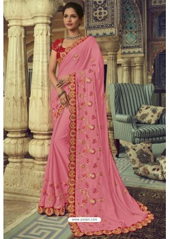 Light Pink Chiffon Designer Saree