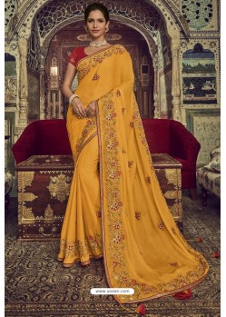 Pretty Yellow Chiffon Designer Saree