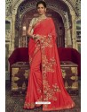 Crimson Georgette Silk Designer Saree