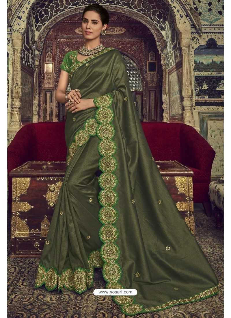 Mehendi Georgette Silk Designer Saree
