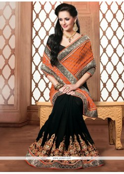Girlish Black And Orange Faux Chiffon Designer Saree