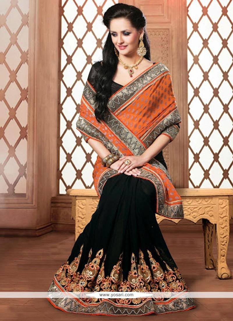 Girlish Black And Orange Faux Chiffon Designer Saree