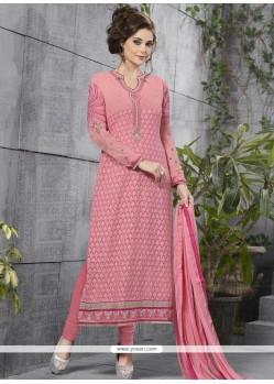 Distinctive Georgette Embroidered Work Churidar Designer Suit