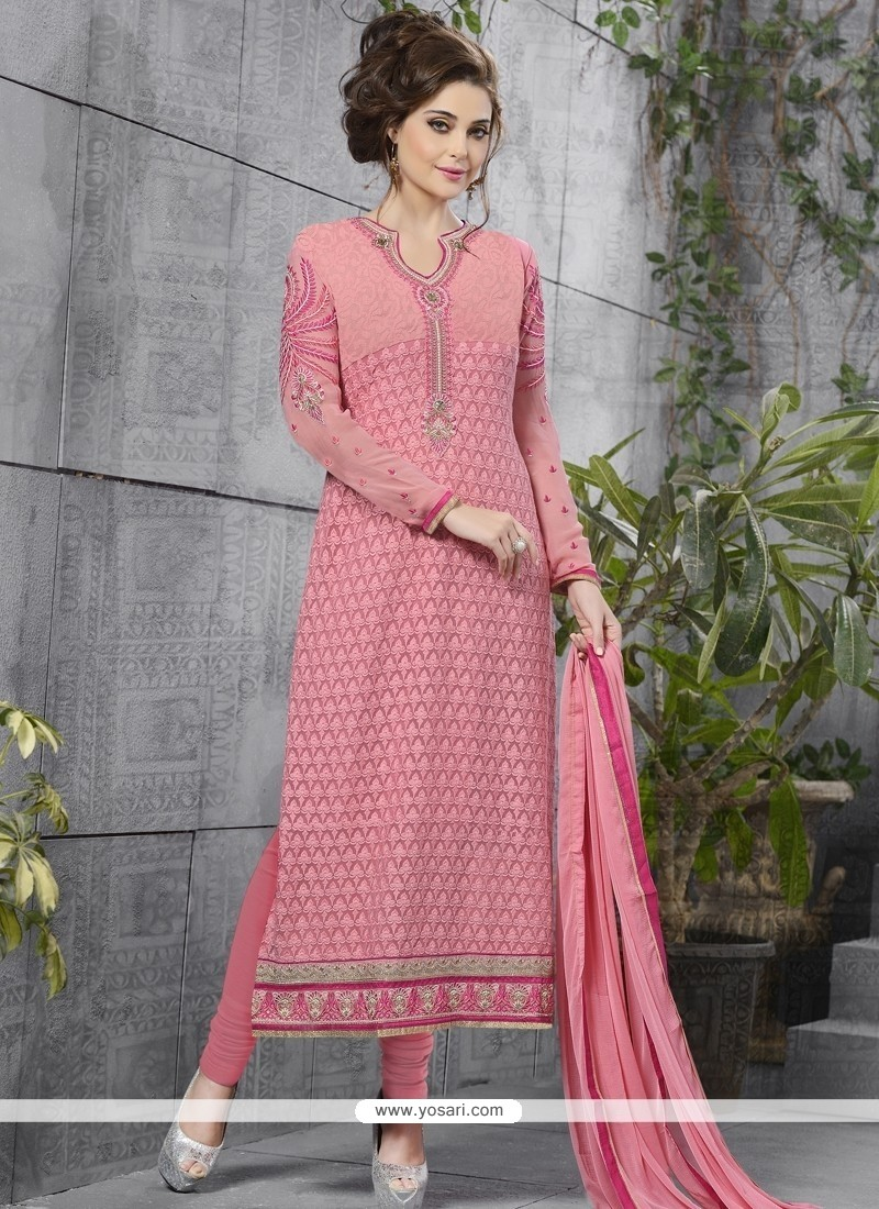 Distinctive Georgette Embroidered Work Churidar Designer Suit
