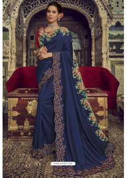 Navy Blue Georgette Silk Designer Saree