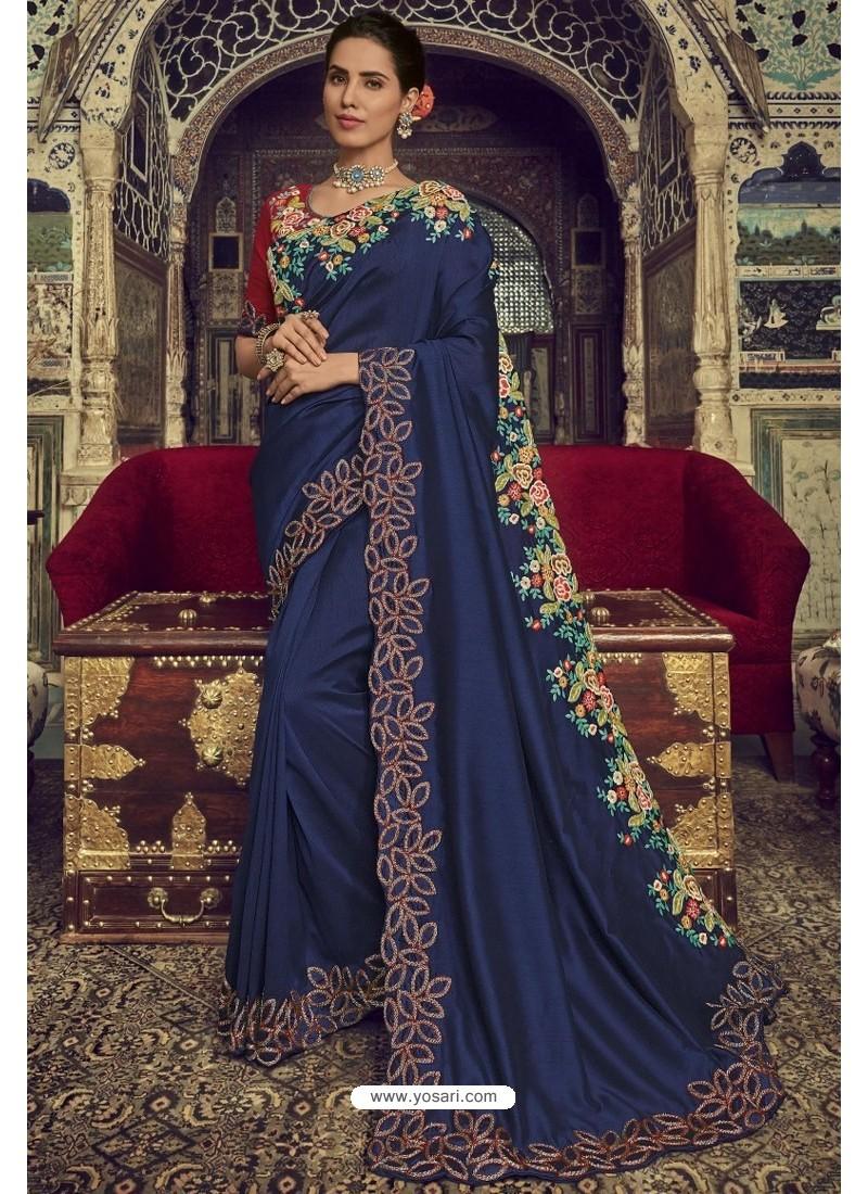 Navy Blue Georgette Silk Designer Saree