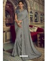 Grey Jute Silk Designer Saree