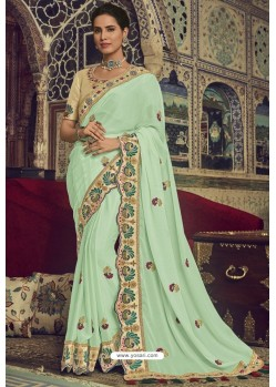 Fabulous Sea Green Georgette Designer Saree