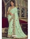 Fabulous Sea Green Georgette Designer Saree