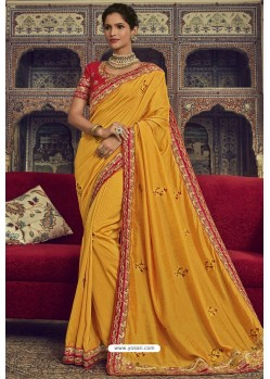 Gorgeous Yellow Georgette Silk Designer Saree