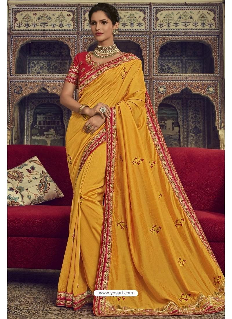 Gorgeous Yellow Georgette Silk Designer Saree