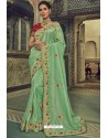 Sea Green Georgette Silk Designer Saree
