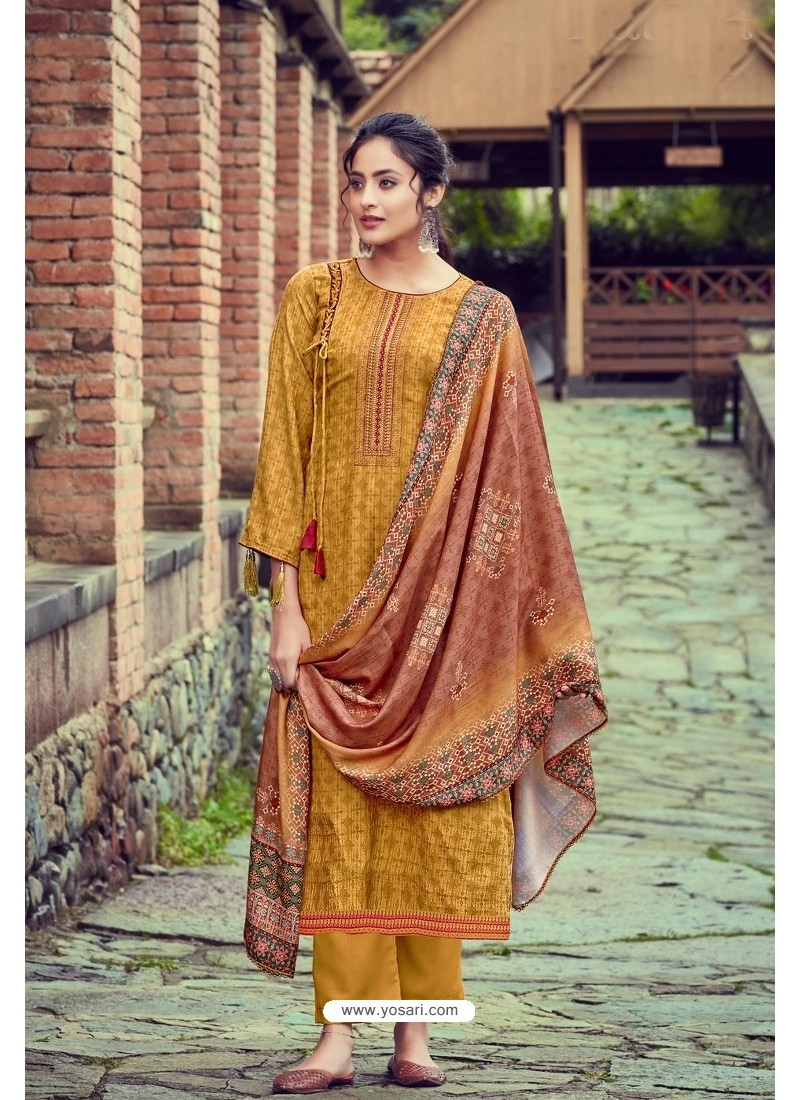 Mustard Wool Pashmina Self Embroidered Straight Suit