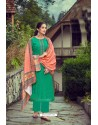 Aqua Mint Wool Pashmina Self Embroidered Straight Suit