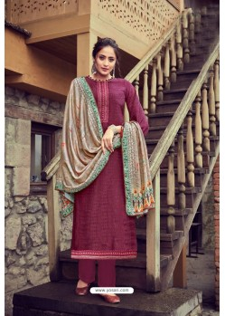 Deep Wine Wool Pashmina Self Embroidered Straight Suit