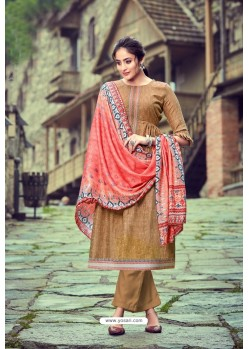 Camel Wool Pashmina Self Embroidered Straight Suit
