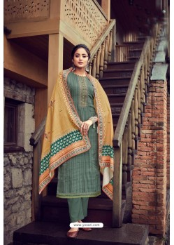 Mehendi Wool Pashmina Self Embroidered Straight Suit