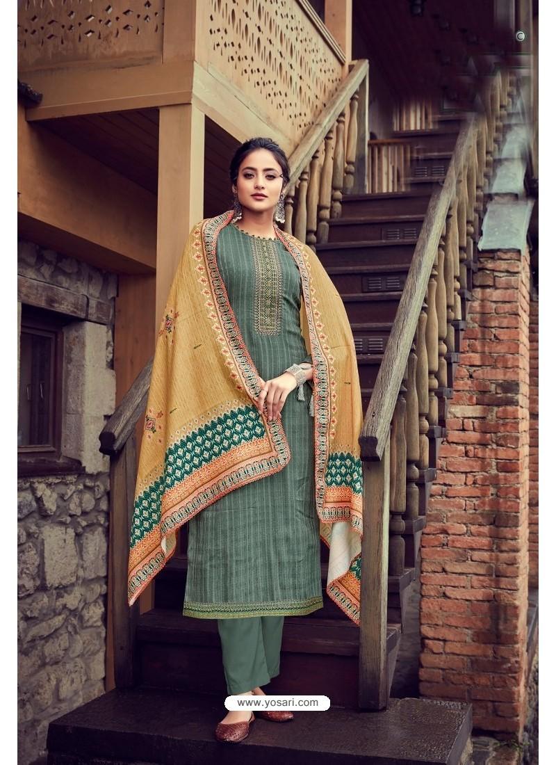 Mehendi Wool Pashmina Self Embroidered Straight Suit